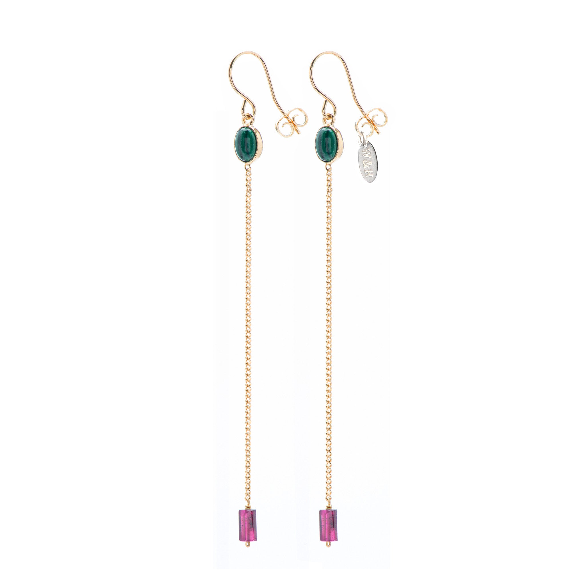 Hook Earrings with Malachite and Garnet