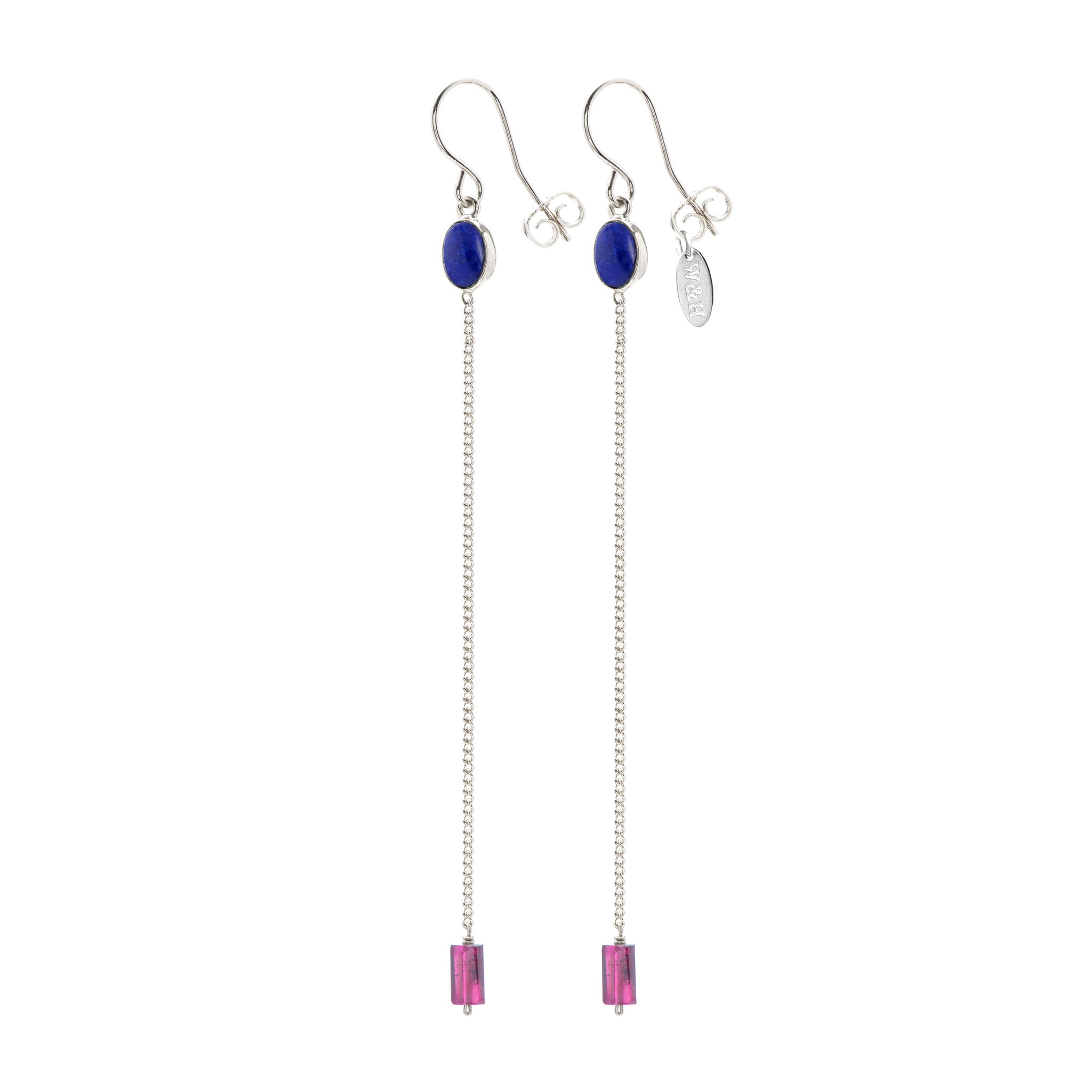 Hook Earrings with Lapis Lazuli and Garnet