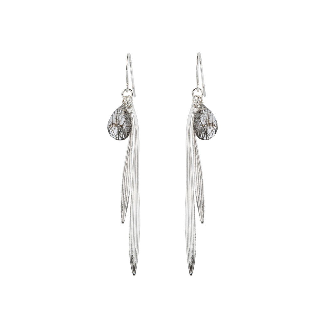 Bamboo leaf Hook Earrings with Tourmaline Quartz