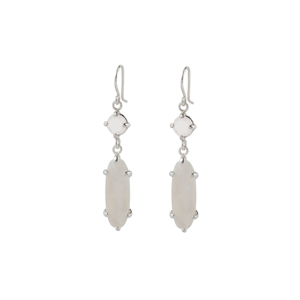 Hook Earrings with Mother of Pearl and Moonstone