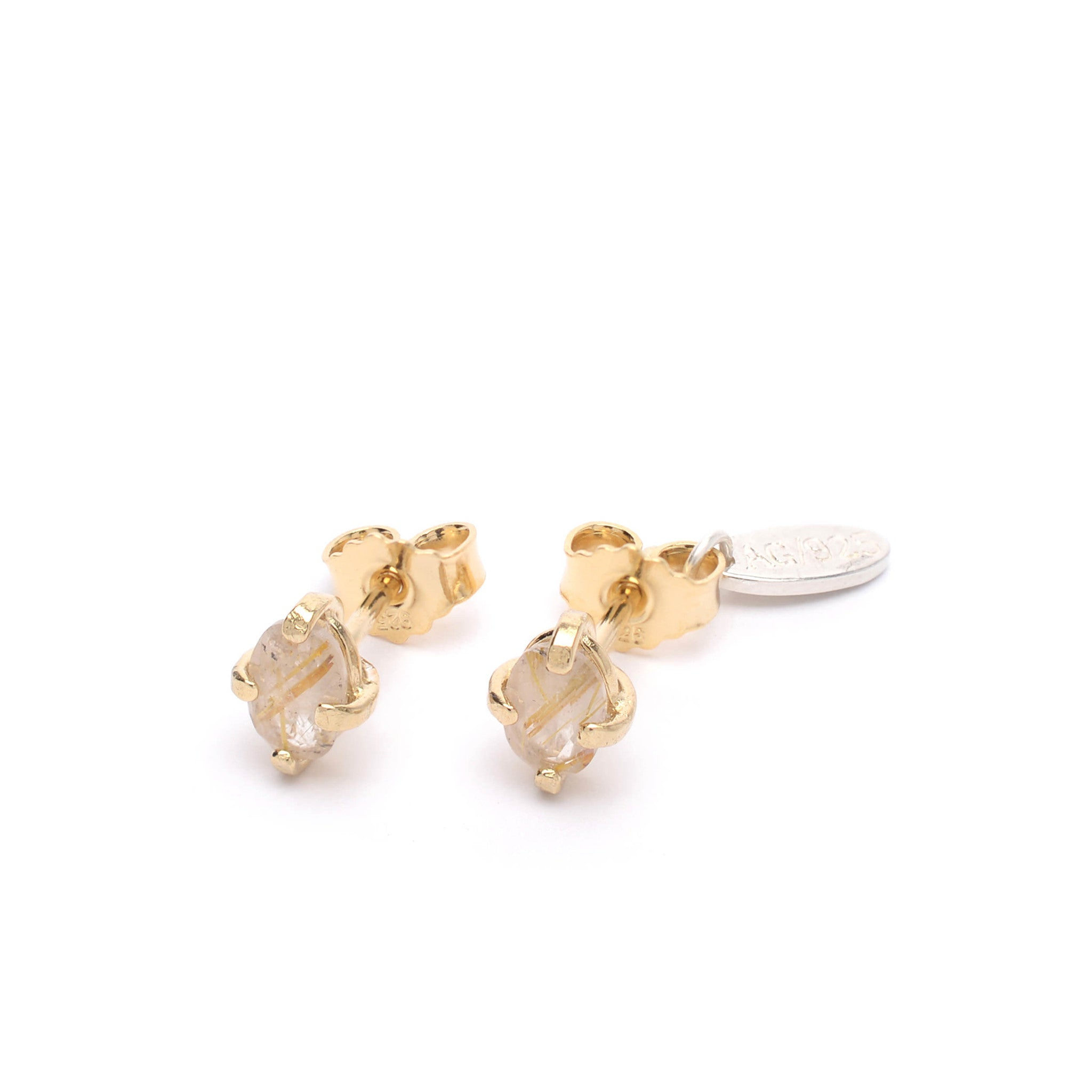 Sterling Silver stud earrings with Rutilated Quartz