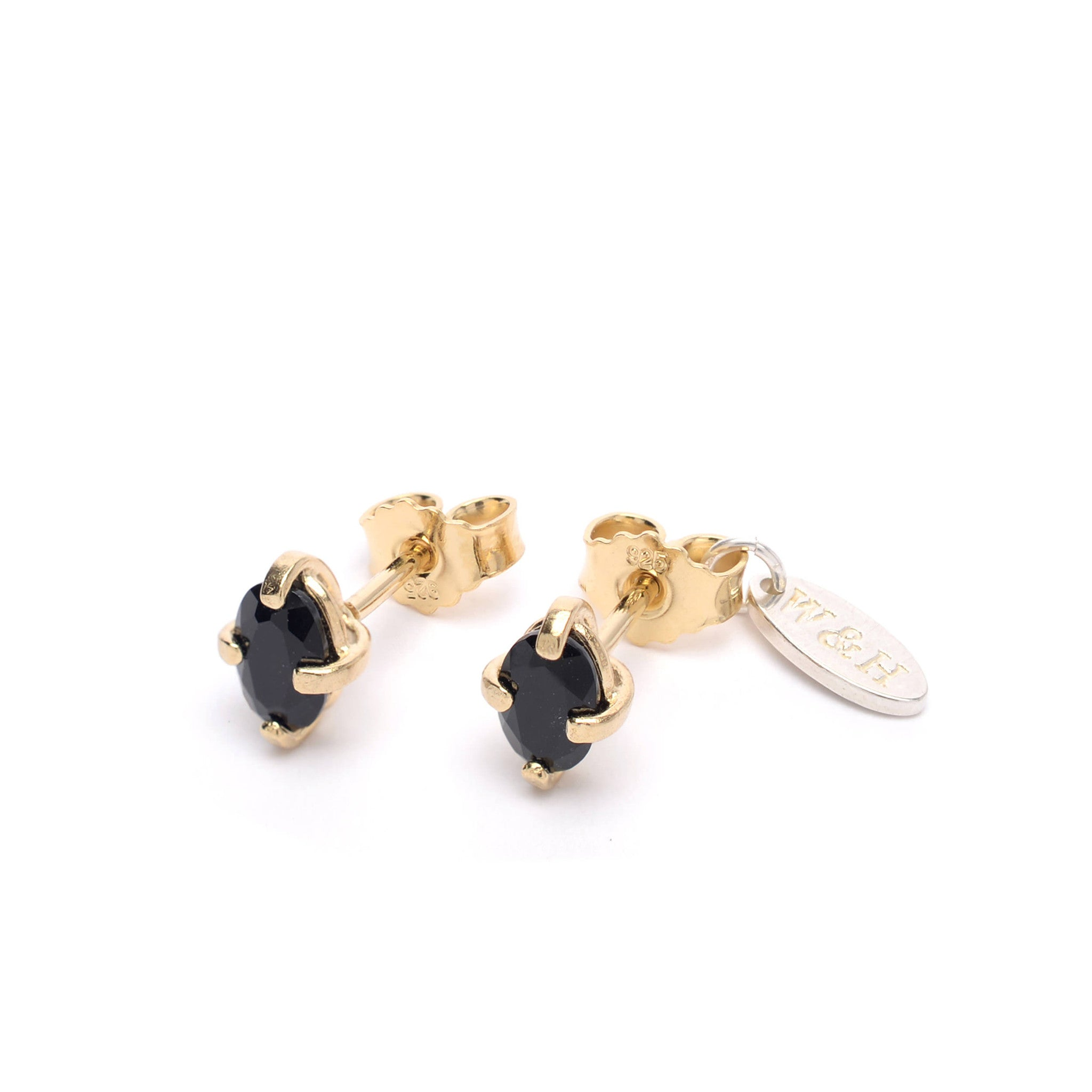 Sterling Silver stud earrings with Onyx