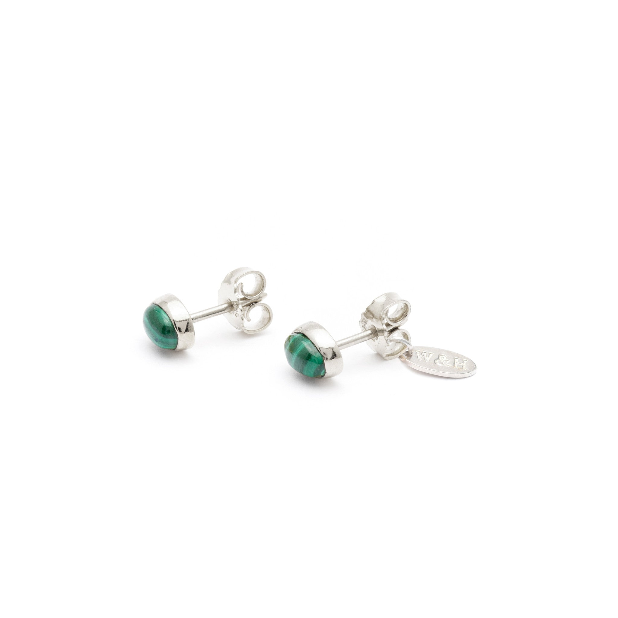 Stud Earrings with Malachite stone