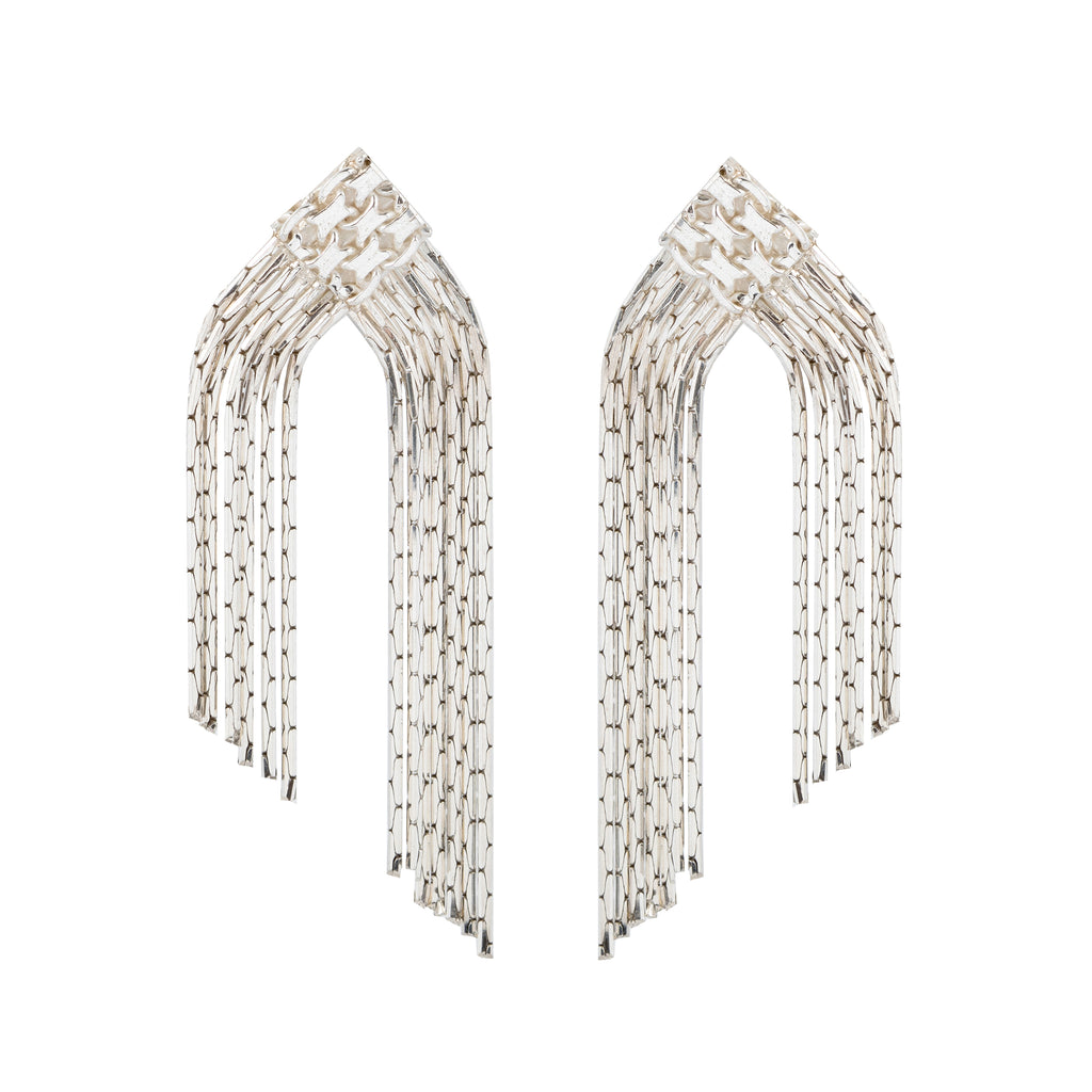 Statement Stud Earrings with woven element and cha