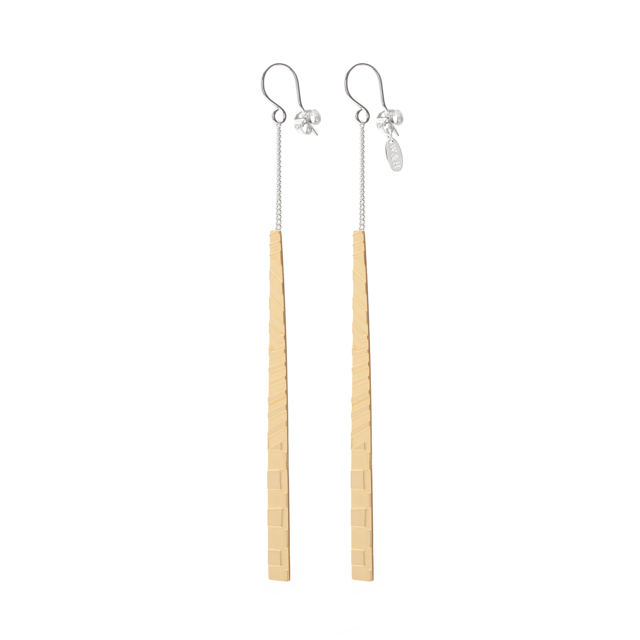 Elegant Hook Earrings with long etched Pendant