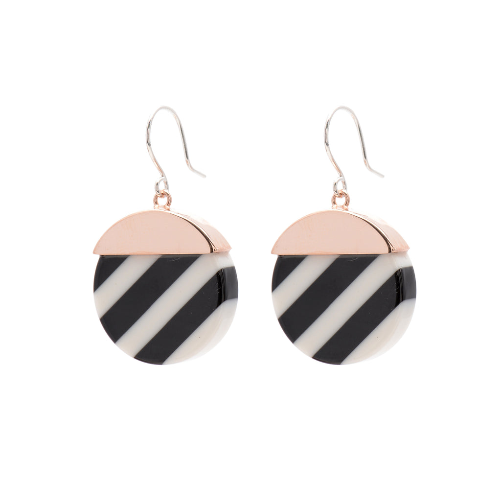 Black and white striped Hook Earrings