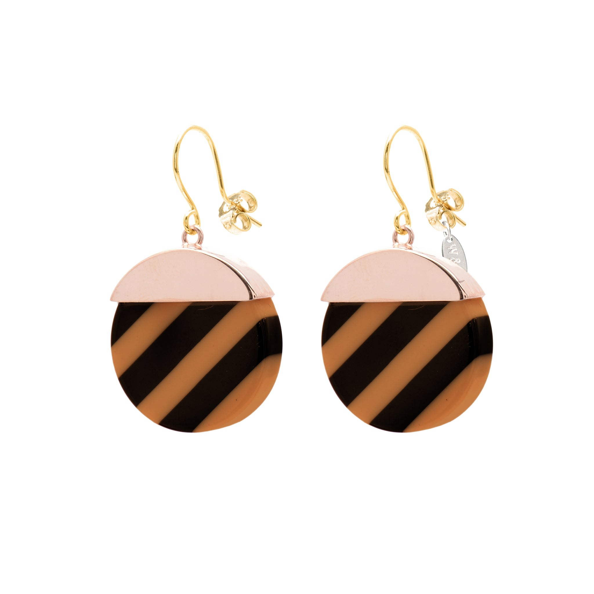 Black and mocca striped Hook Earrings