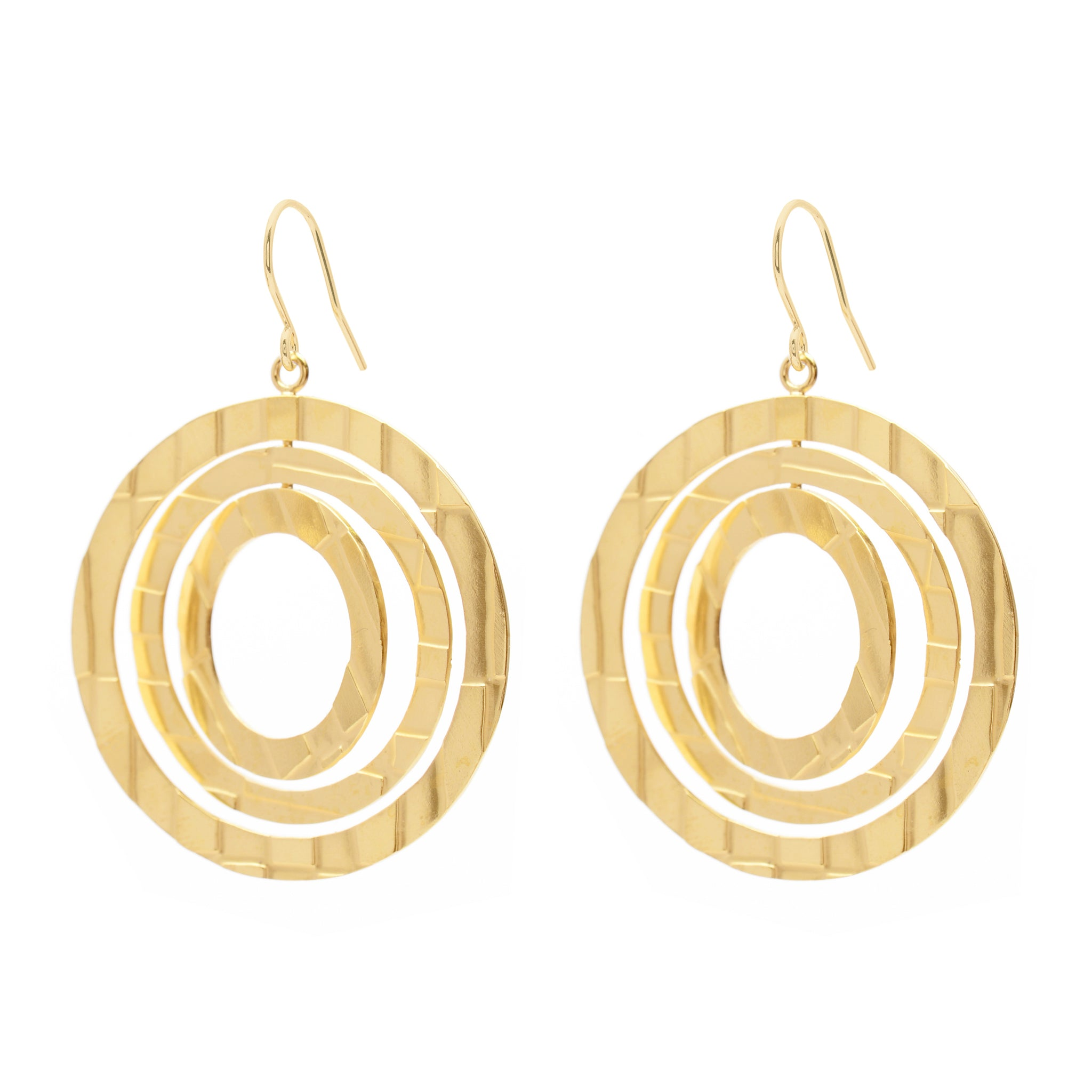 Hook Earrings with etched circular Pendant