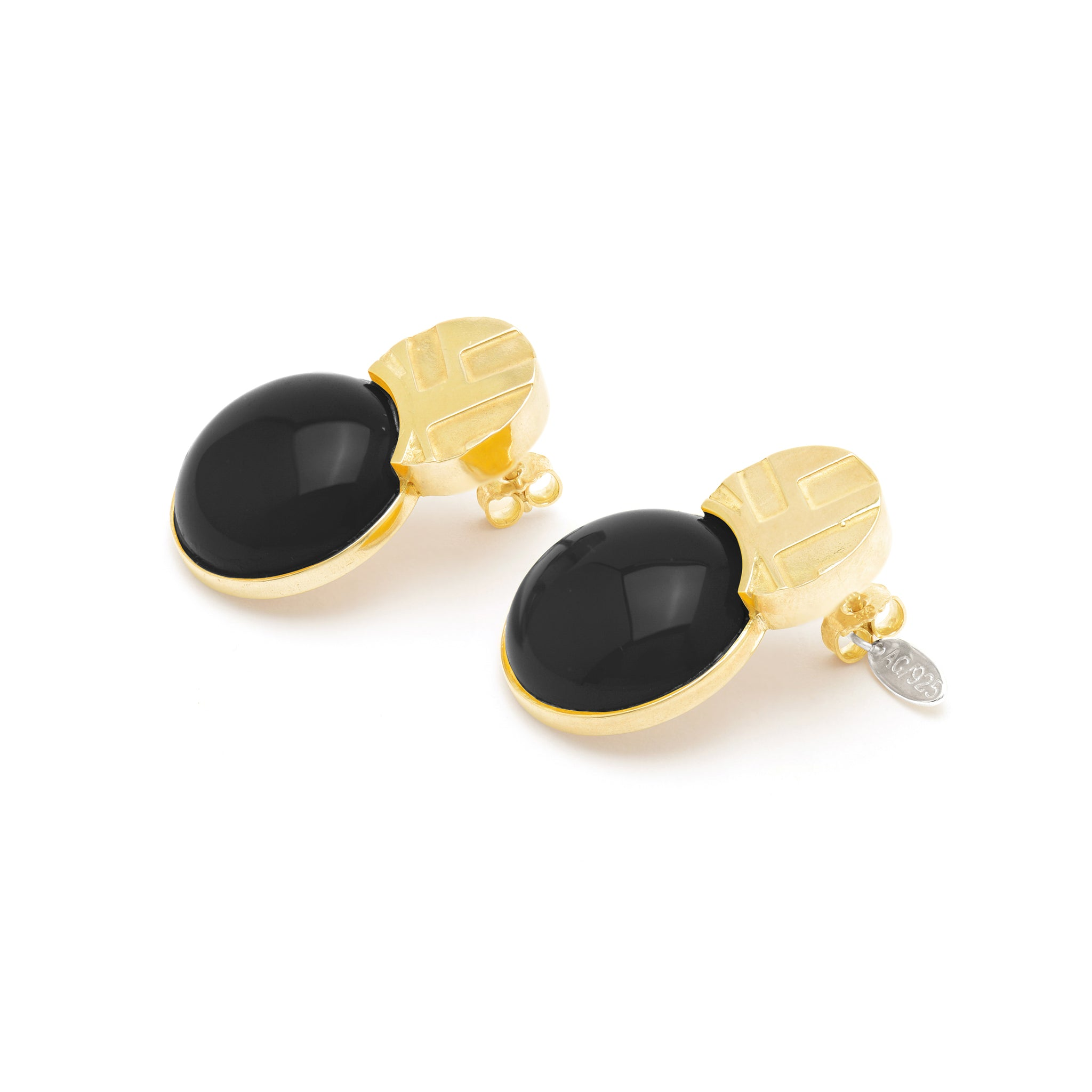 Etched Stud Earrings with Onyx stone