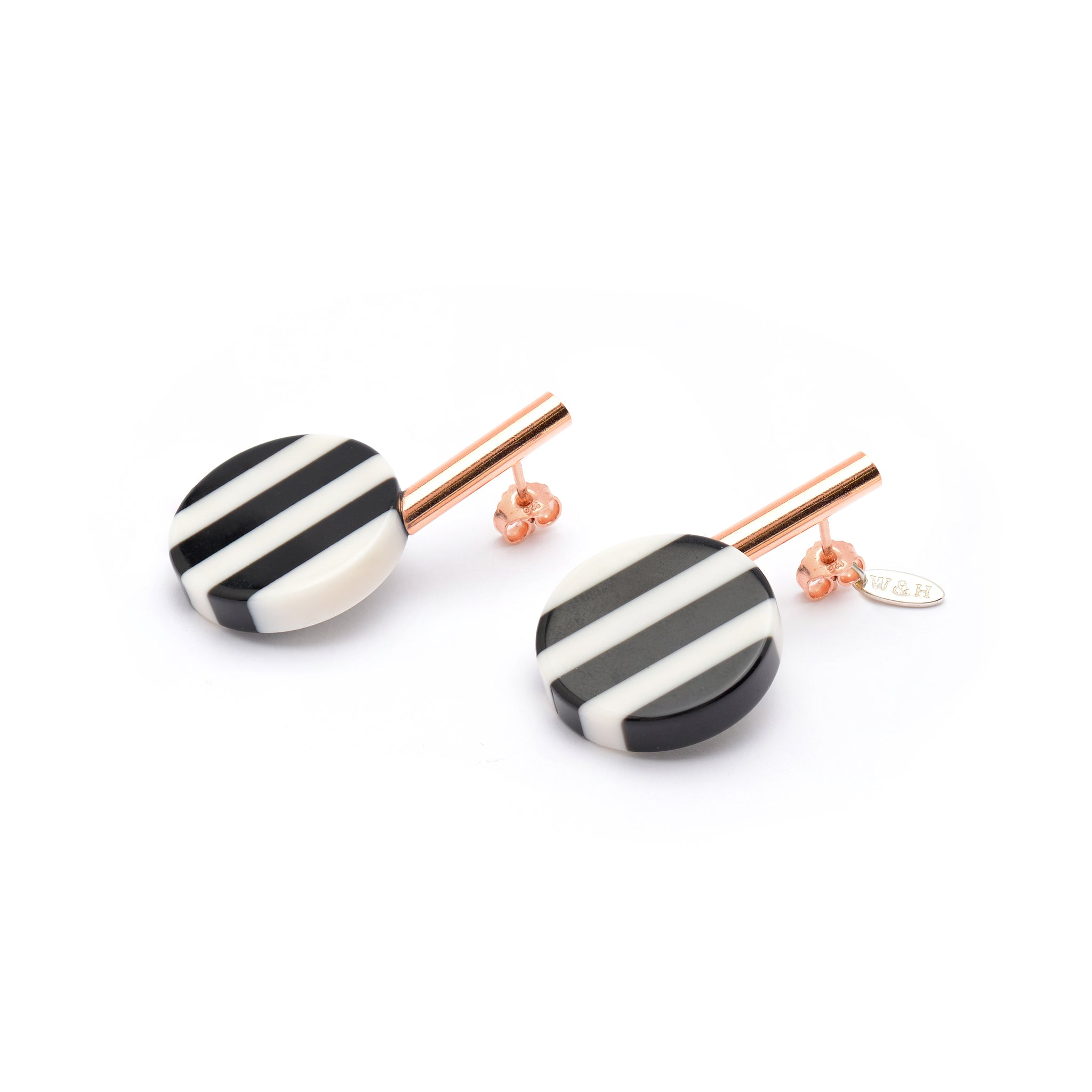 Black and white striped Stud Earrings