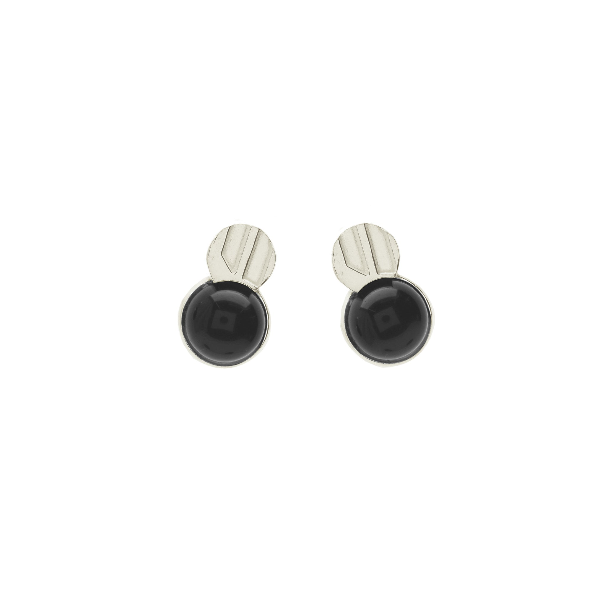 Fine Etched Stud Earrings with Onyx stone