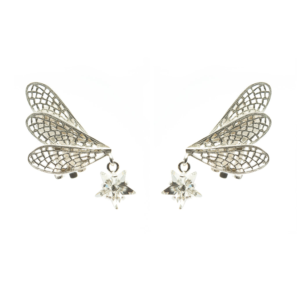 Clip Earrings with wings and white Crystal star