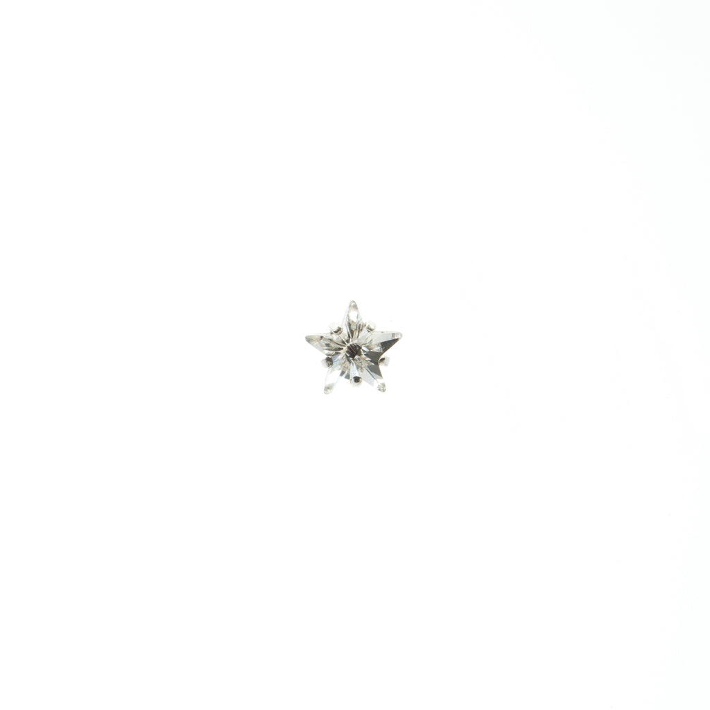 Single Stud Earring with white Crystal star