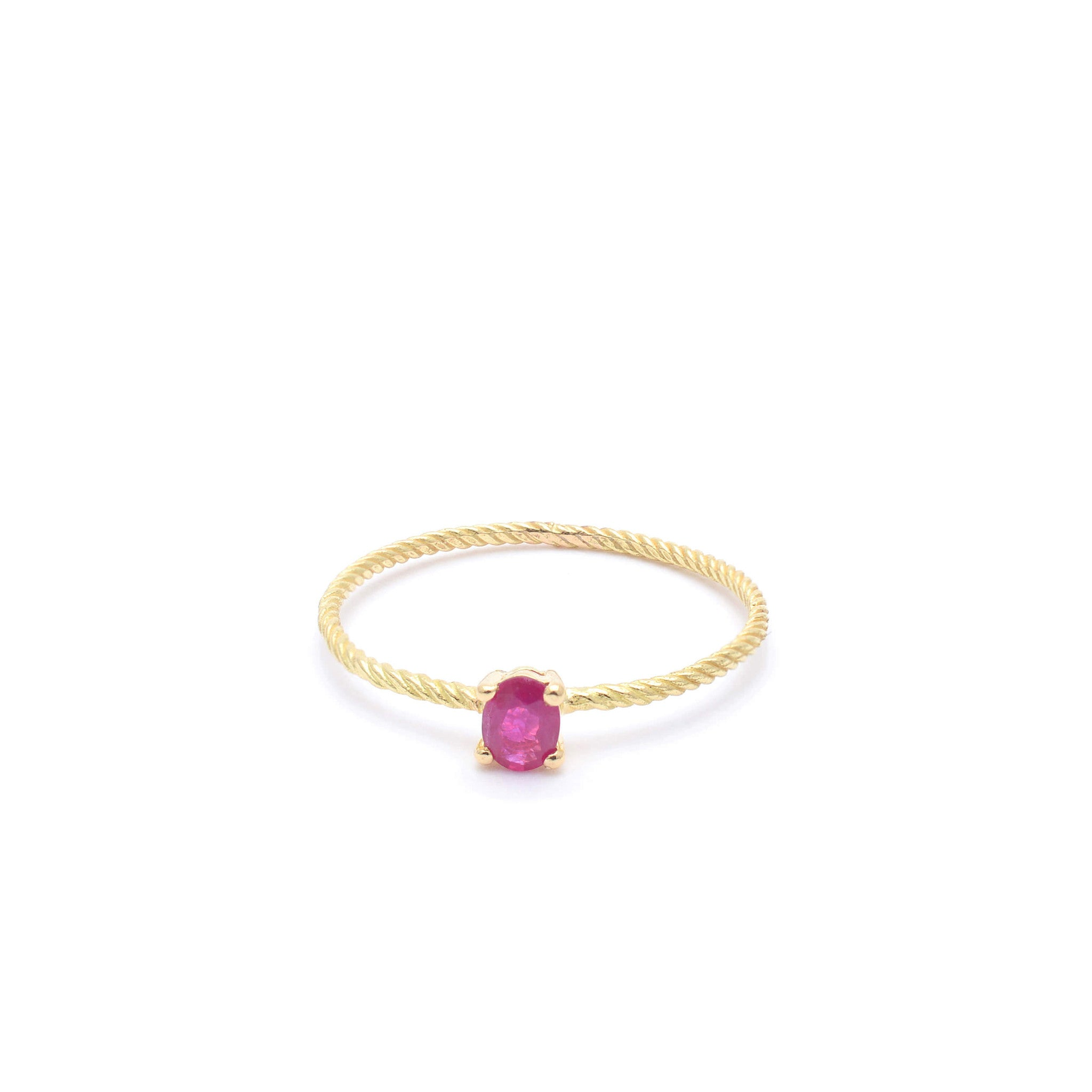 18kt Gold fine Ring with Ruby