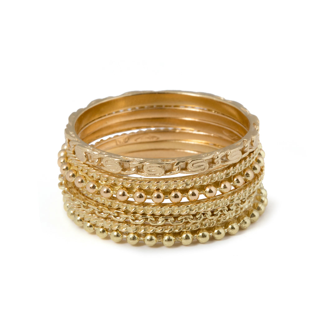 18kt Gold Chapters stacked Ring