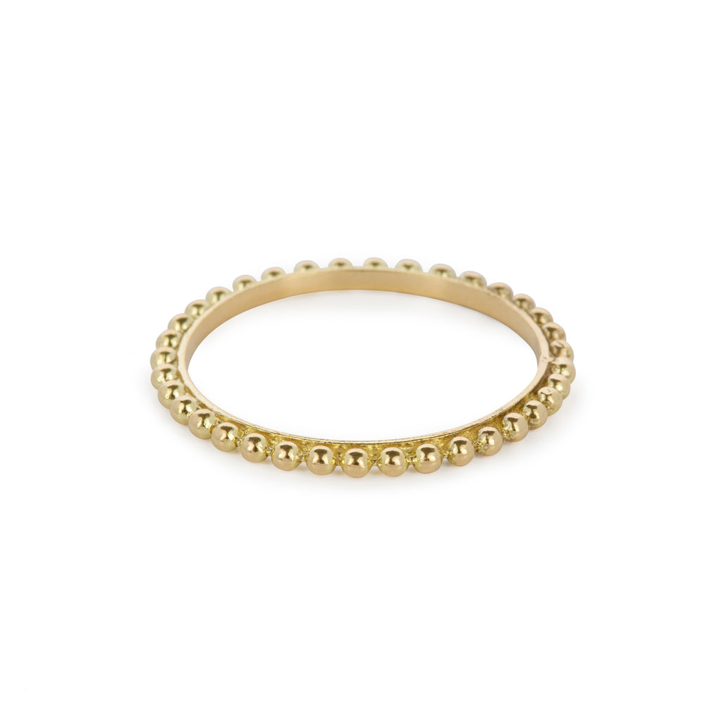 18kt Gold Ring with ball chain finish