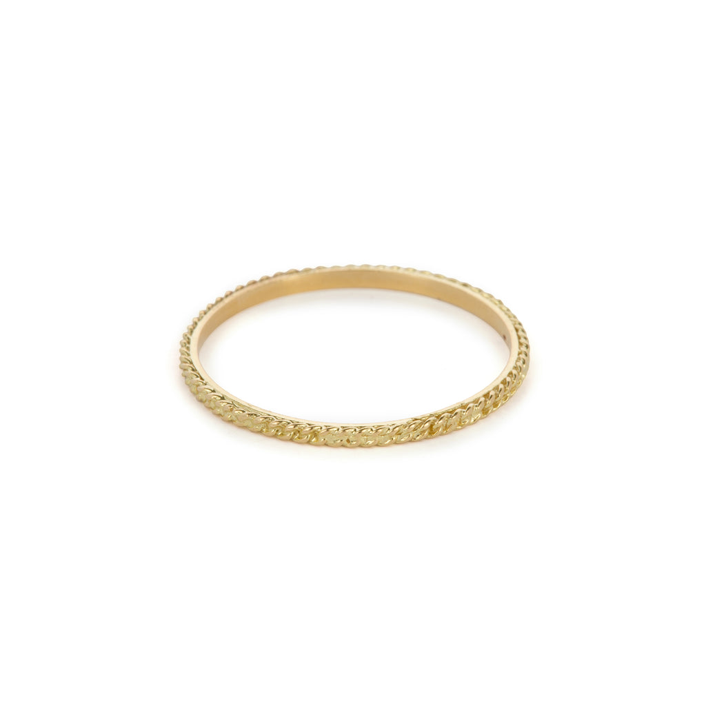 18kt Gold Ring with gourmet chain finish