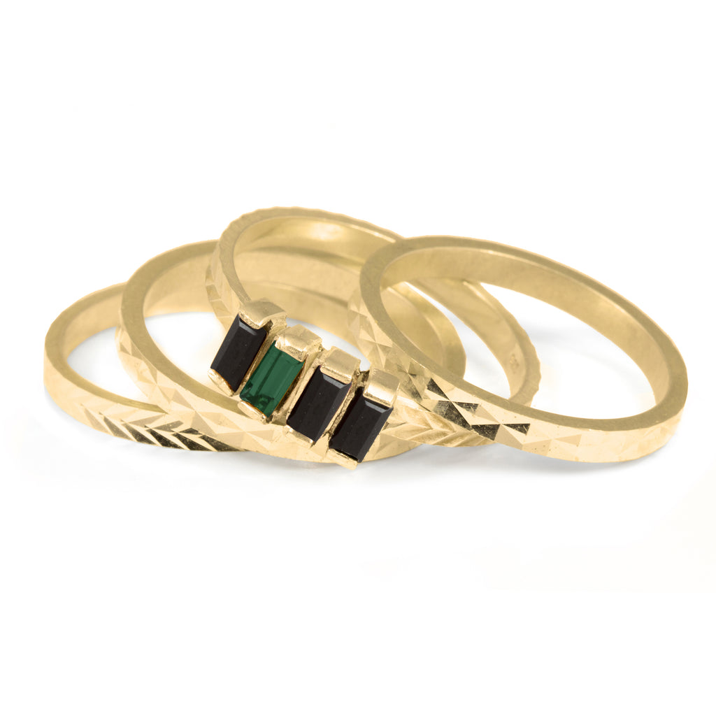 Stacked Ring with emerald and jet crystals