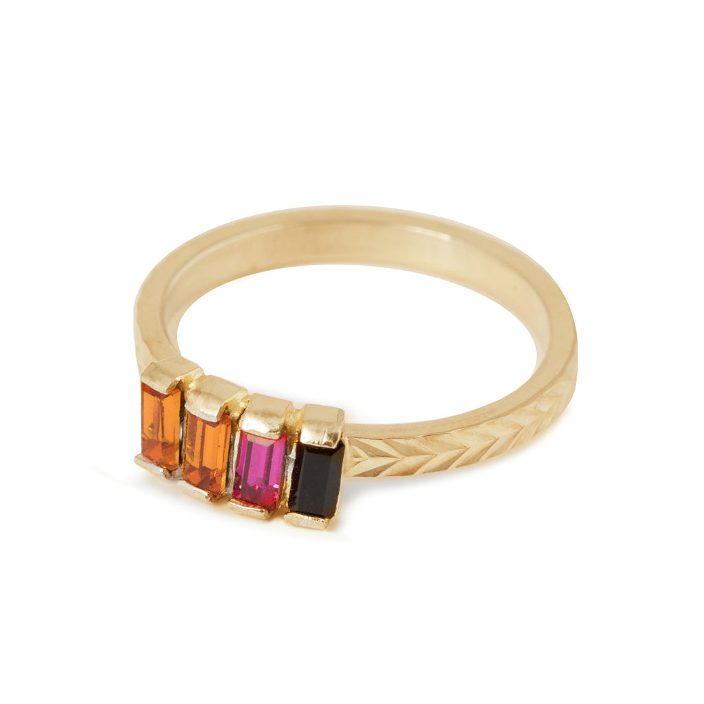 Fine Ring with rainbow colored crystals