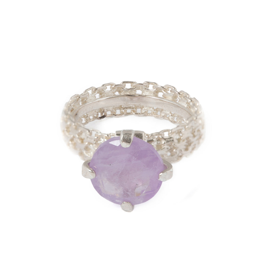 Textured Ring with milky Amethyst