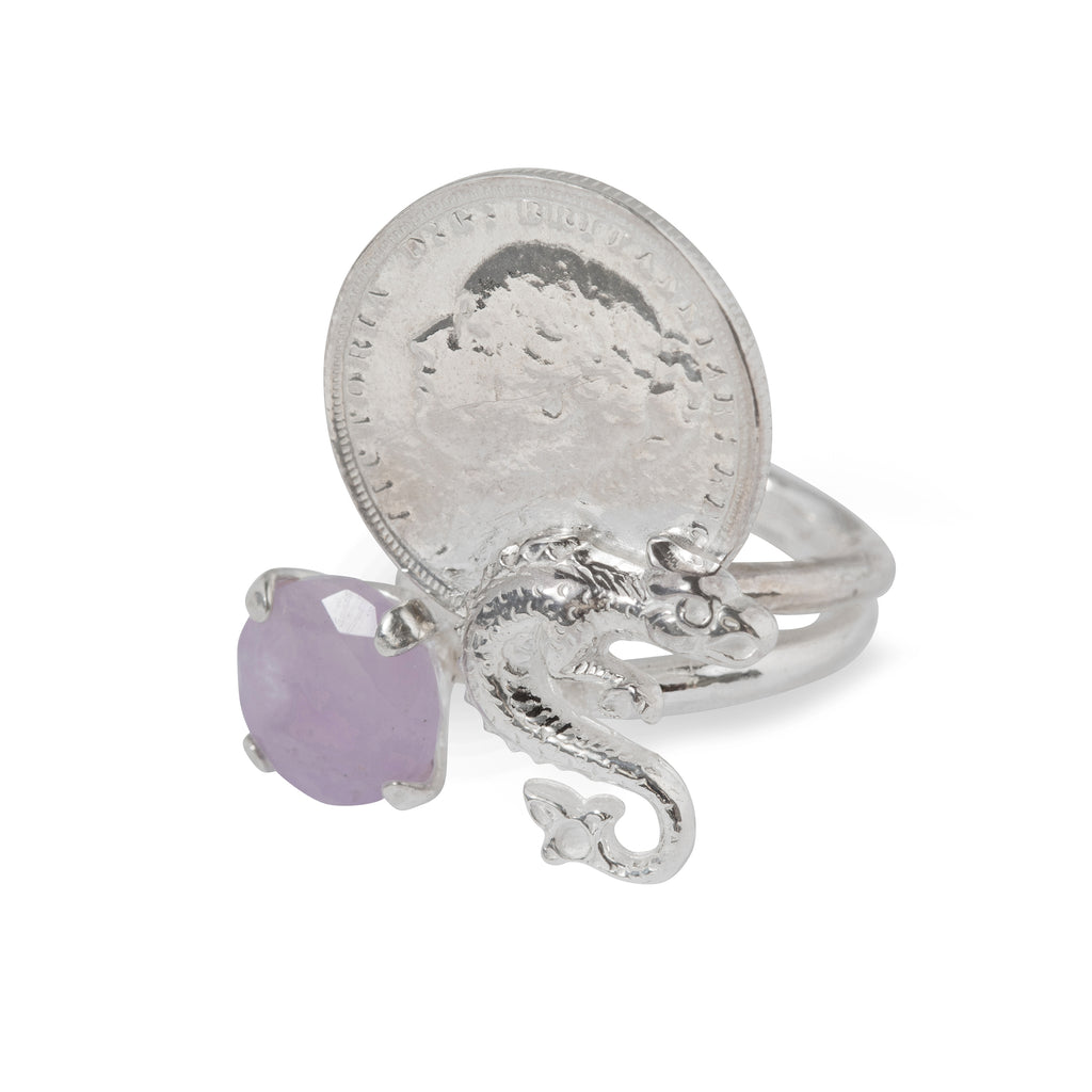 Ring with coin, dragon and milky Amethyst