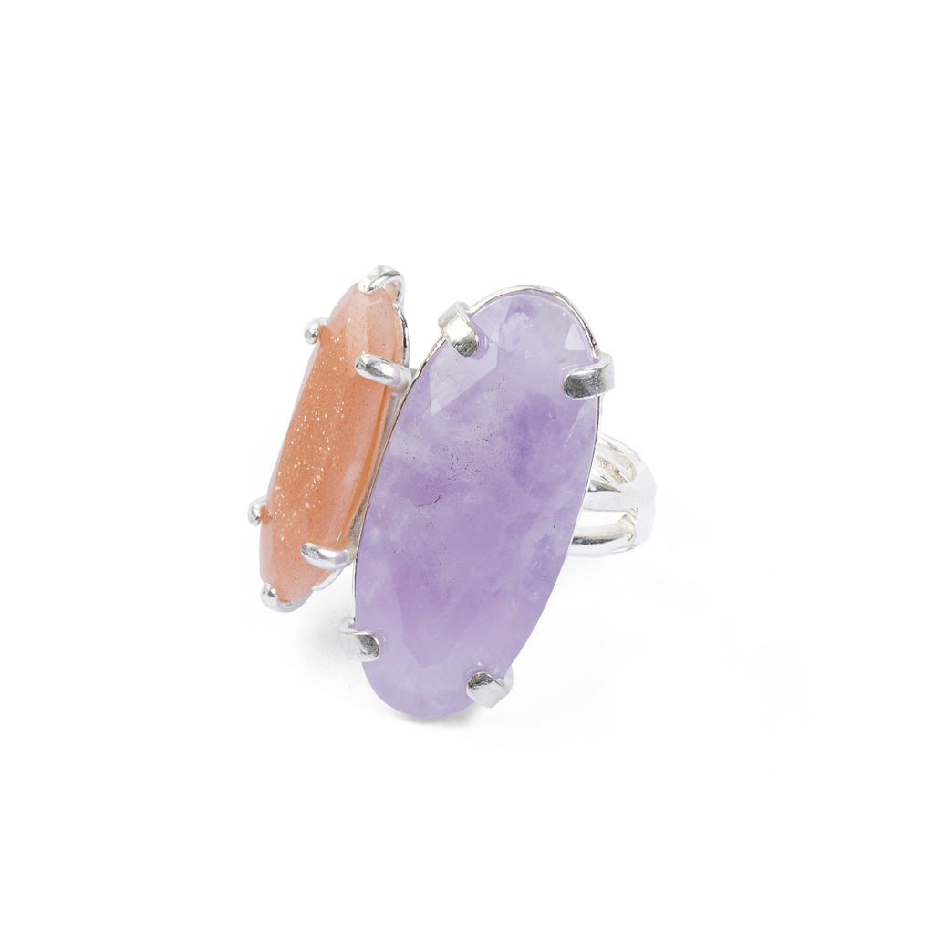 Statement Ring with Amethyst and Sunstone