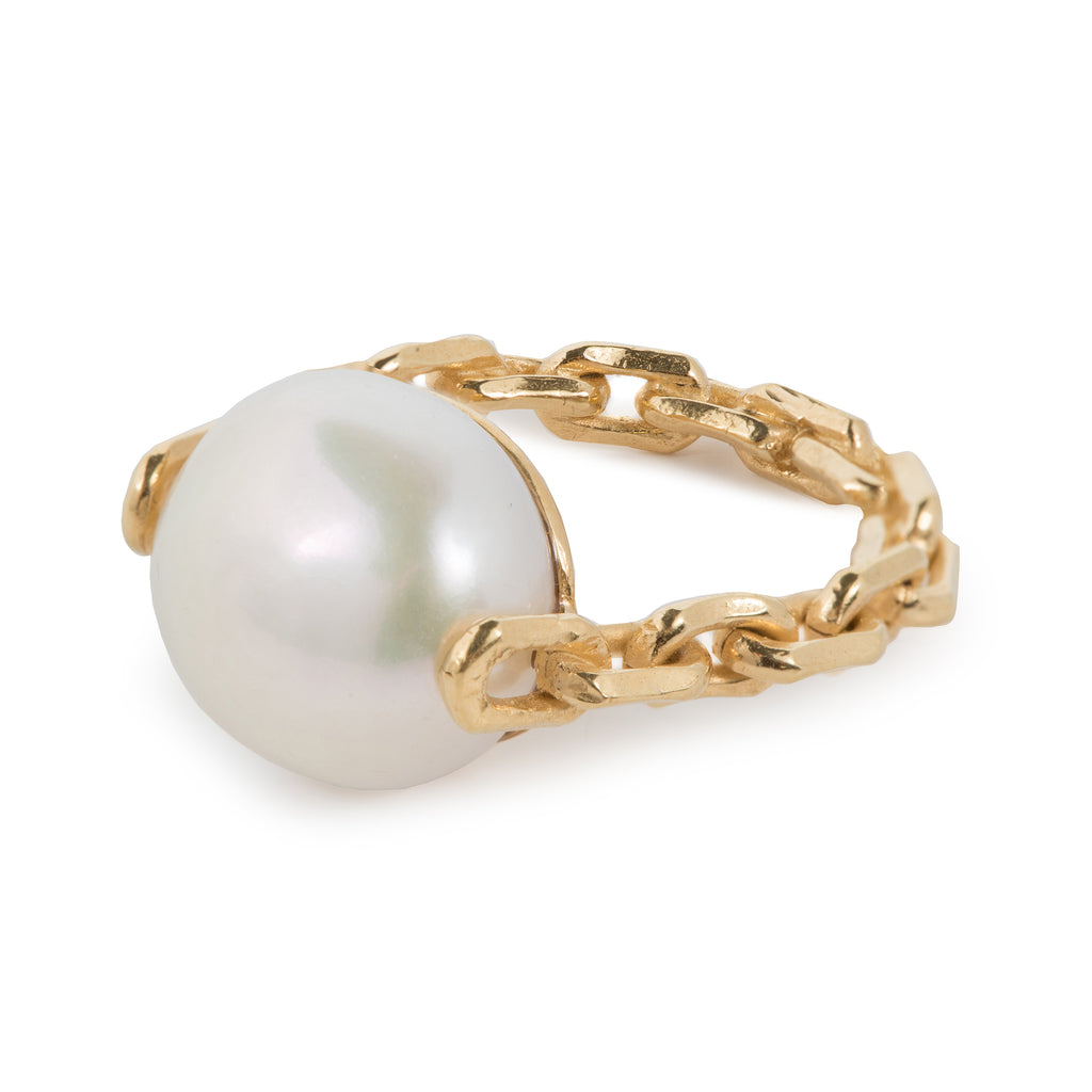Statement Ring with chain and Freshwater Pearl