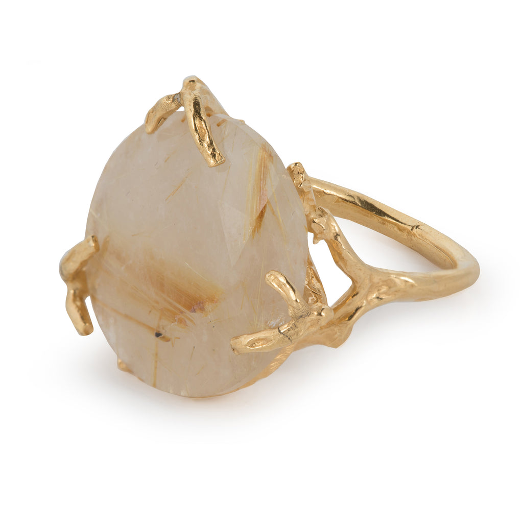Statement Ring clasping golden Rutilated Quartz