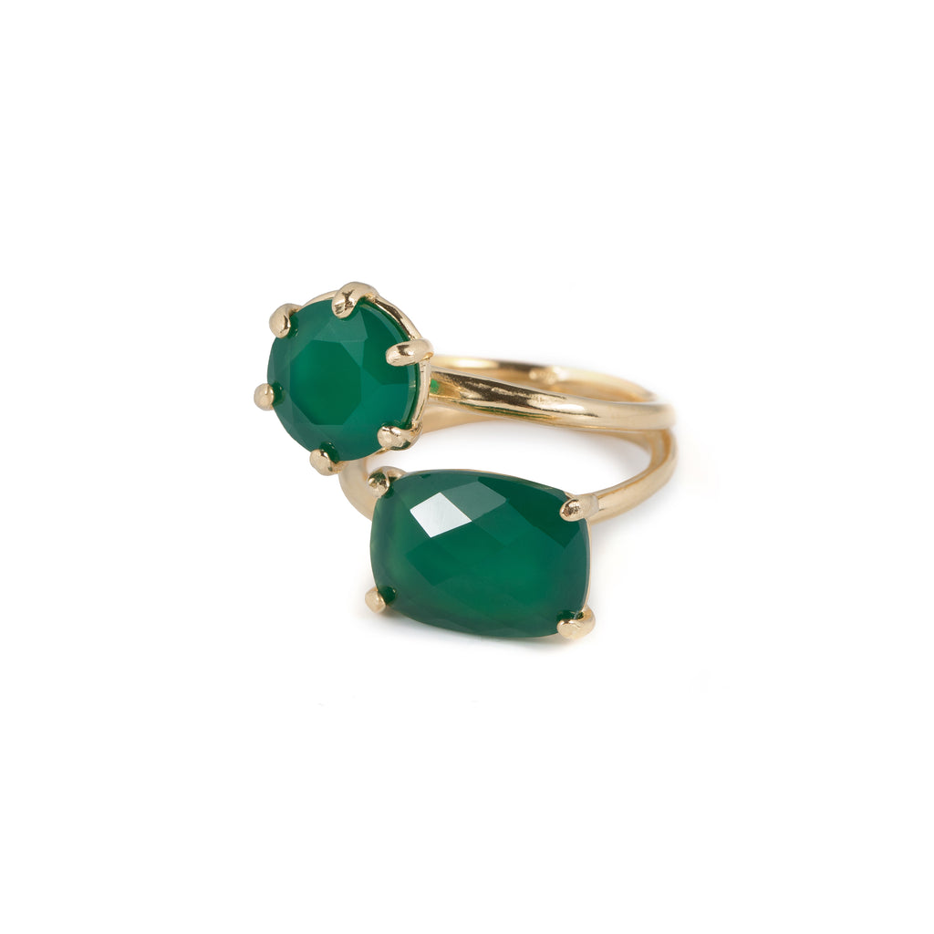 Statement Ring with green Agate