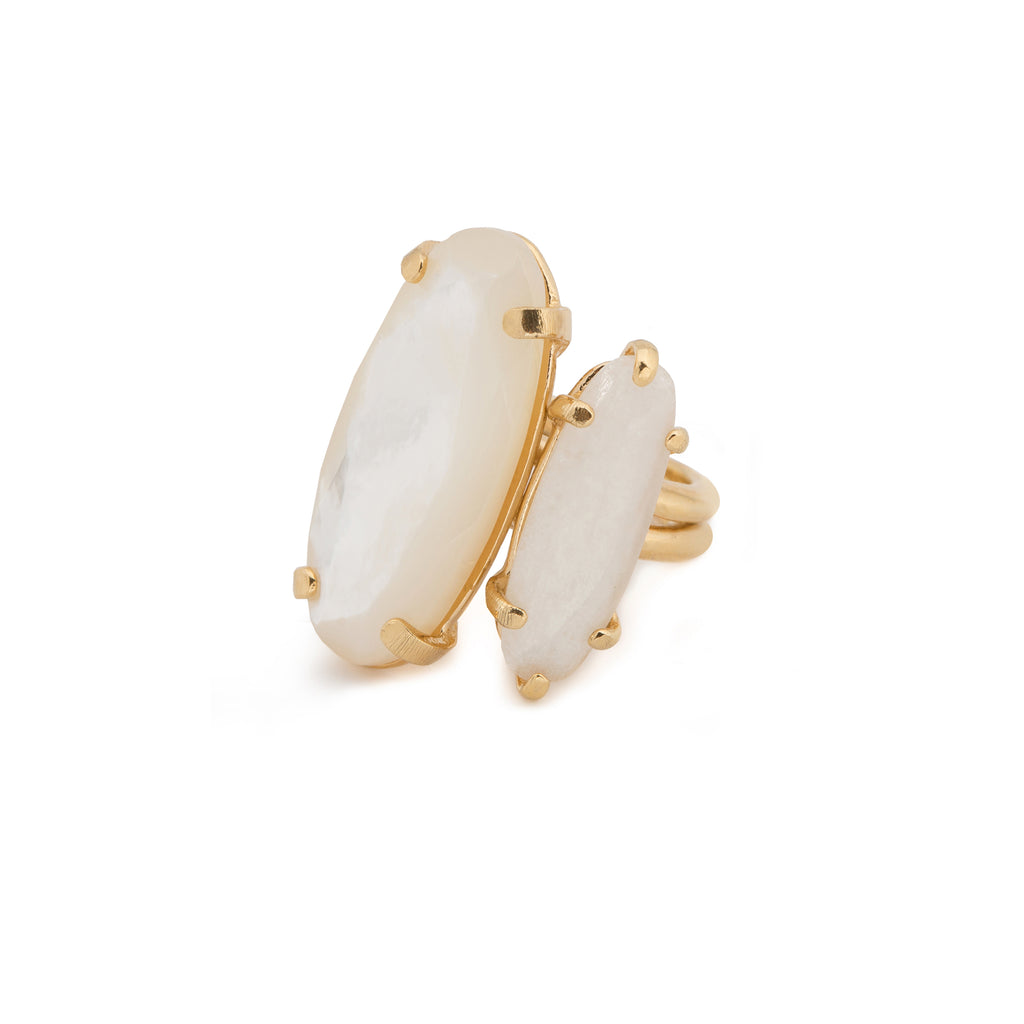 Statement Ring with Mother of Pearl and Moonstone