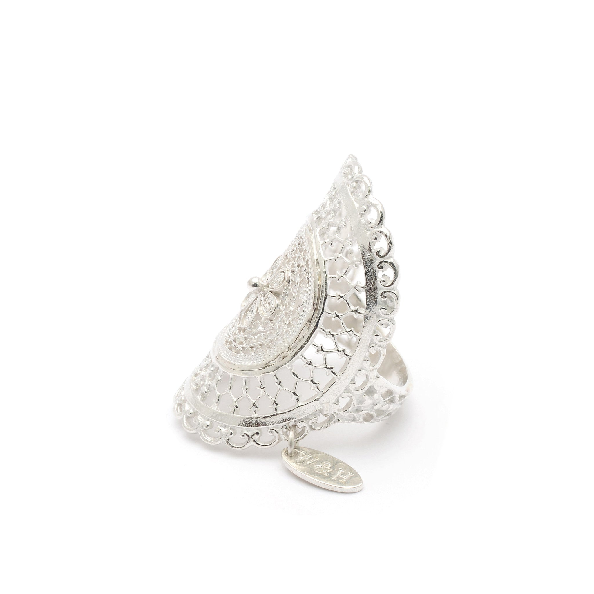 Sterling Silver statement filigree ring