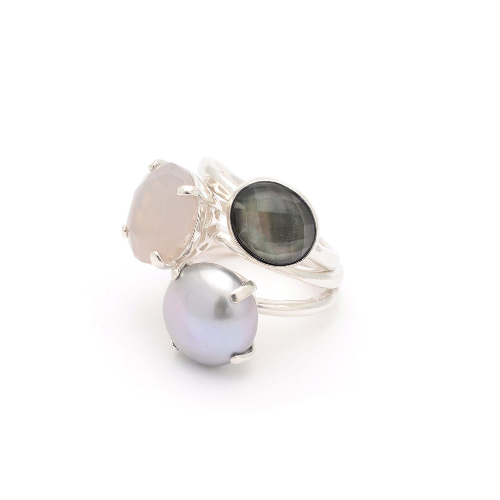 Stacked multi gemstone and Pearl statement Ring