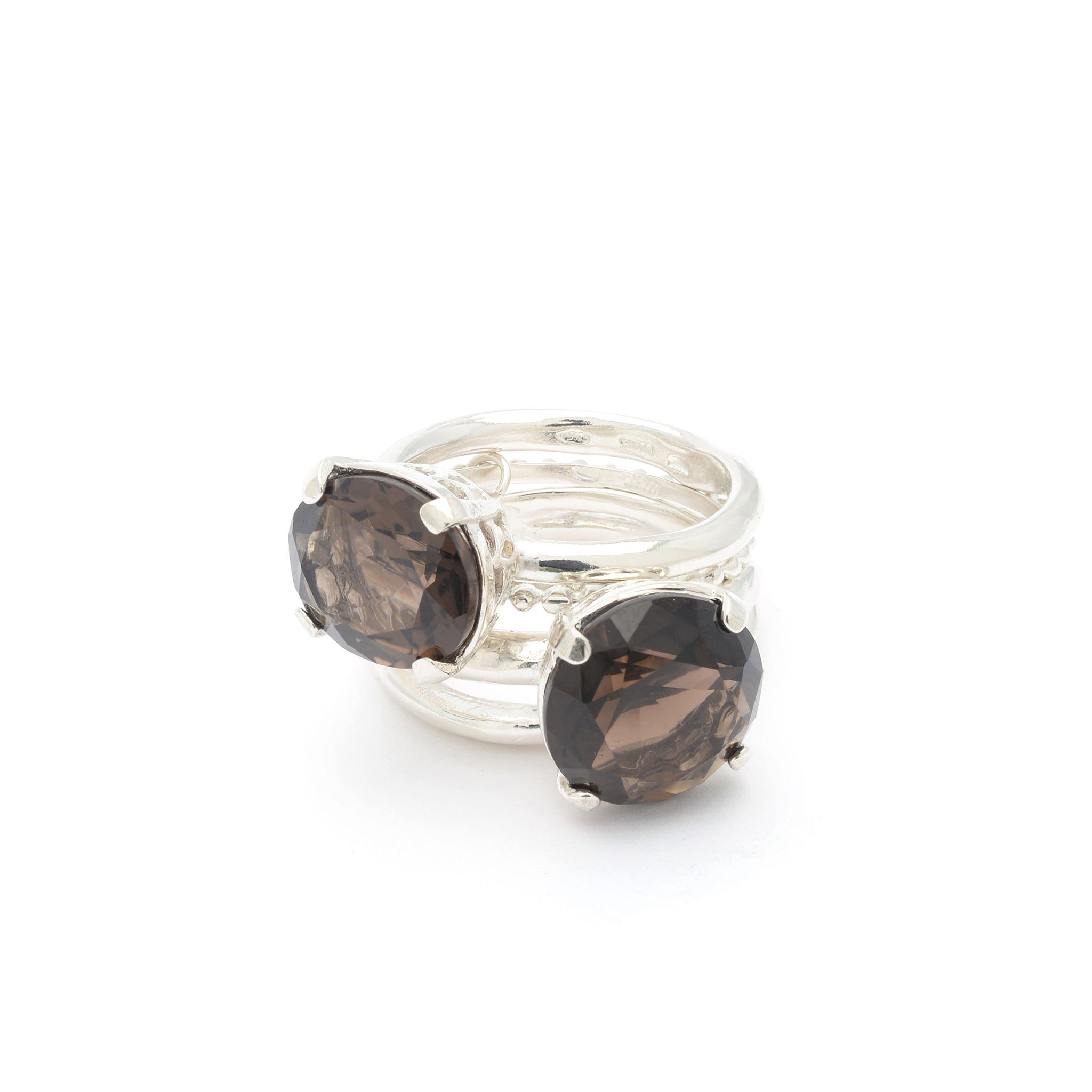 Sterling Silver stacked statement ring with Smoky Quartz