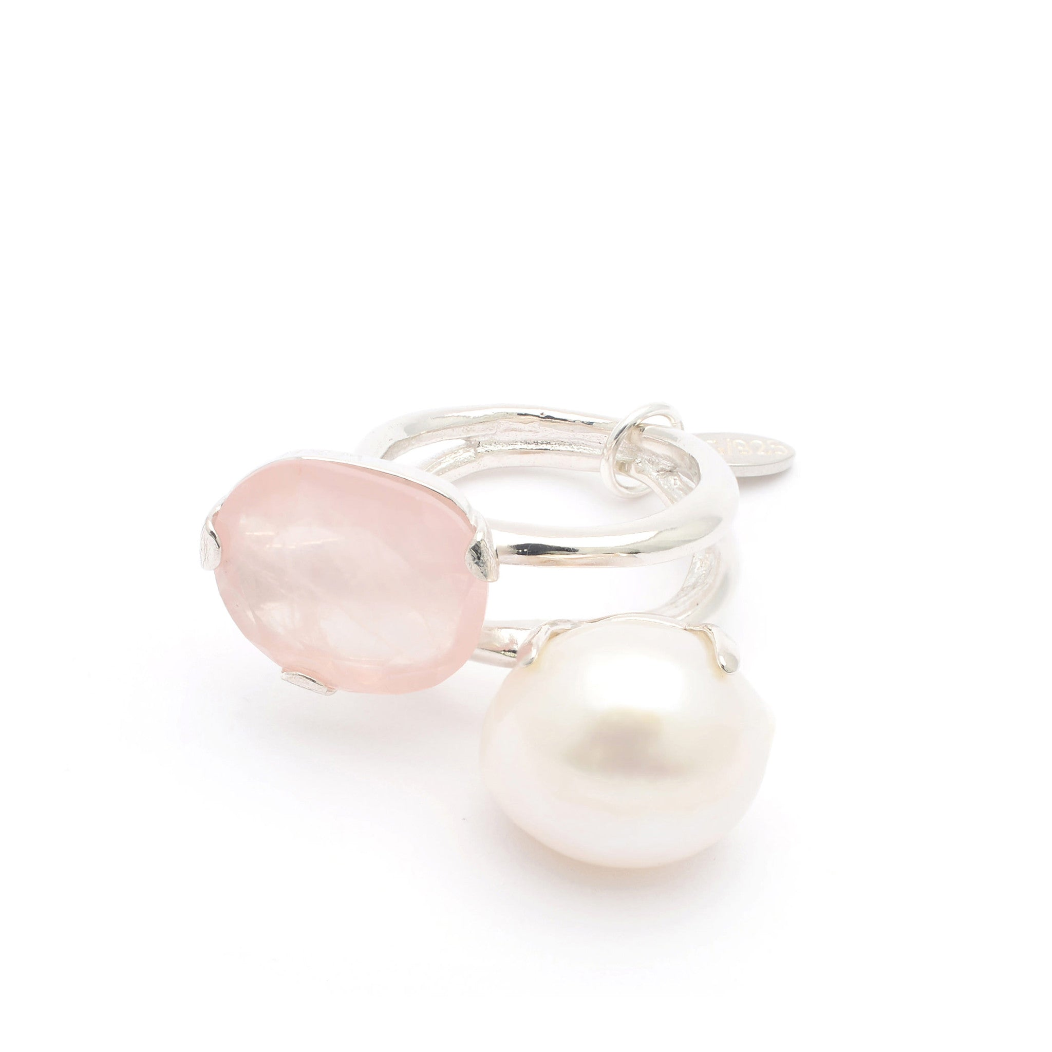 Sterling Silver statement ring with Quartz and Freshwater Pearl