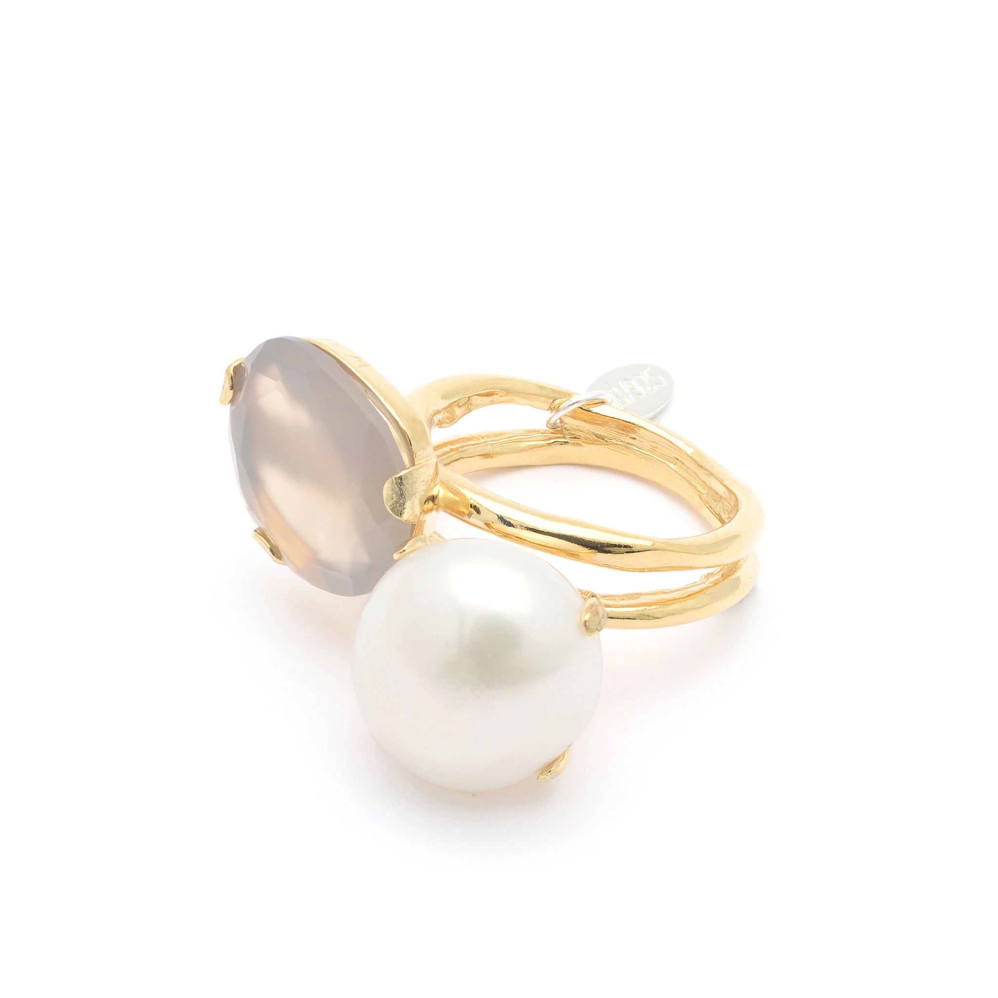 Sterling Silver statement ring with grey Agate and Freshwater Pearl