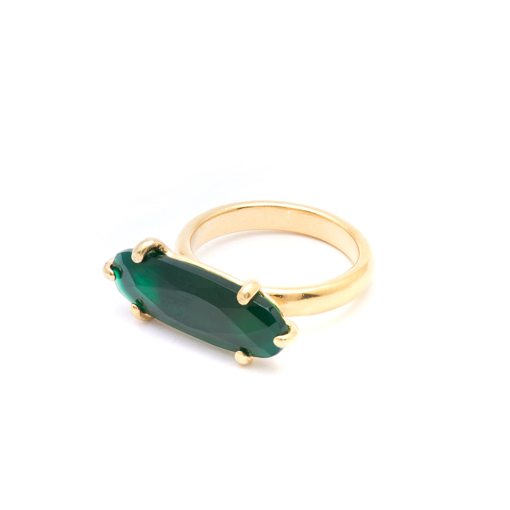 Statement Ring with green Agate stone