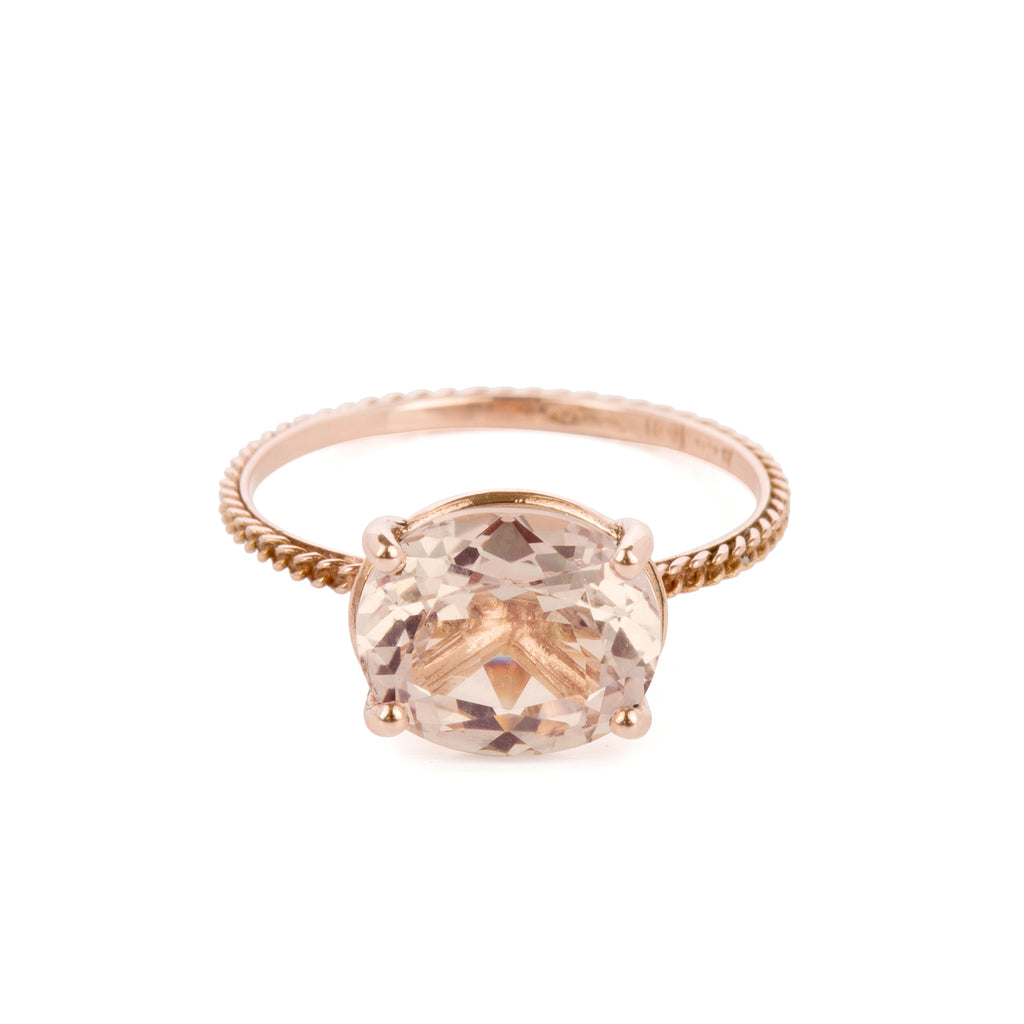 18kt Gold chain structured Ring with Morganite