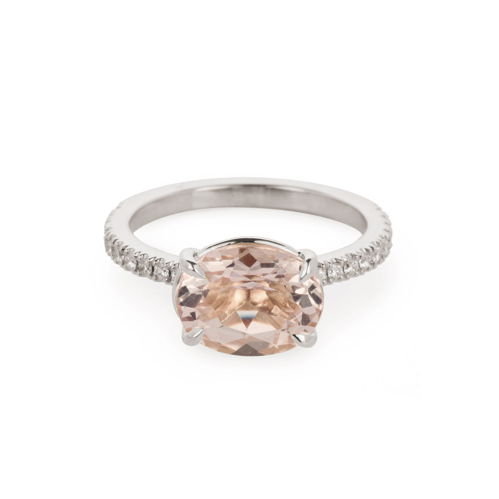 18kt Gold eternity Ring with Diamonds and Morganite