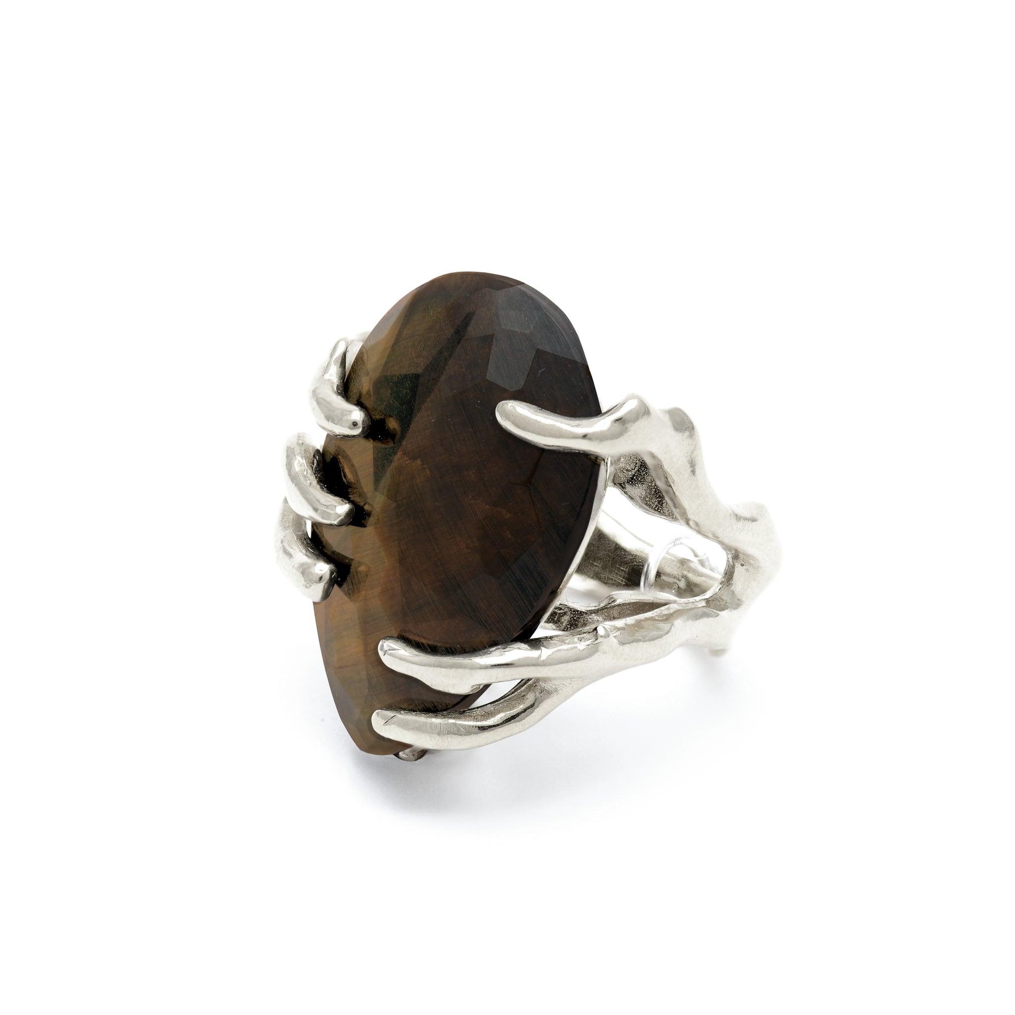 Statement ring with blue yellow Tiger Eye stone