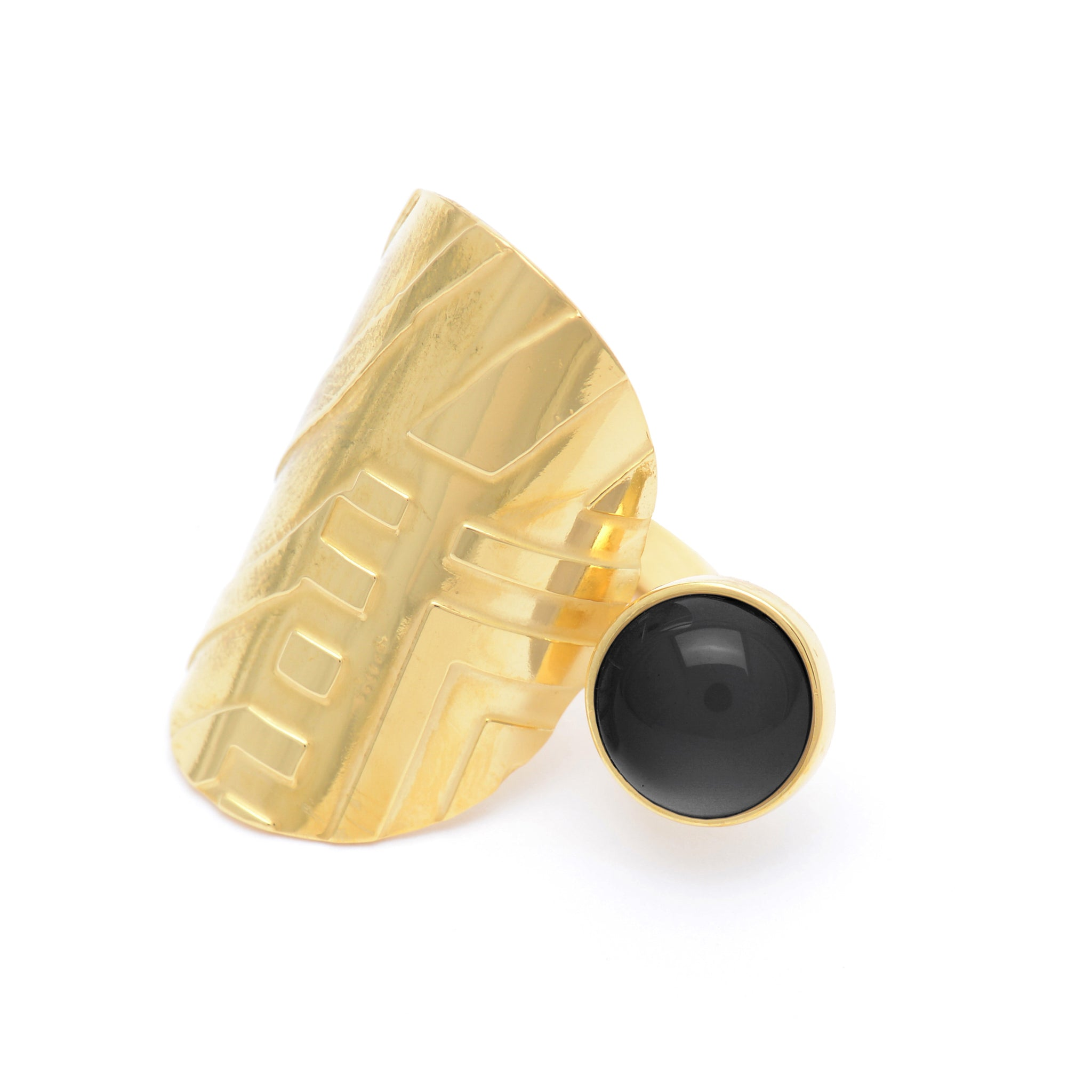 Etched Sterling silver Ring with Onyx stone
