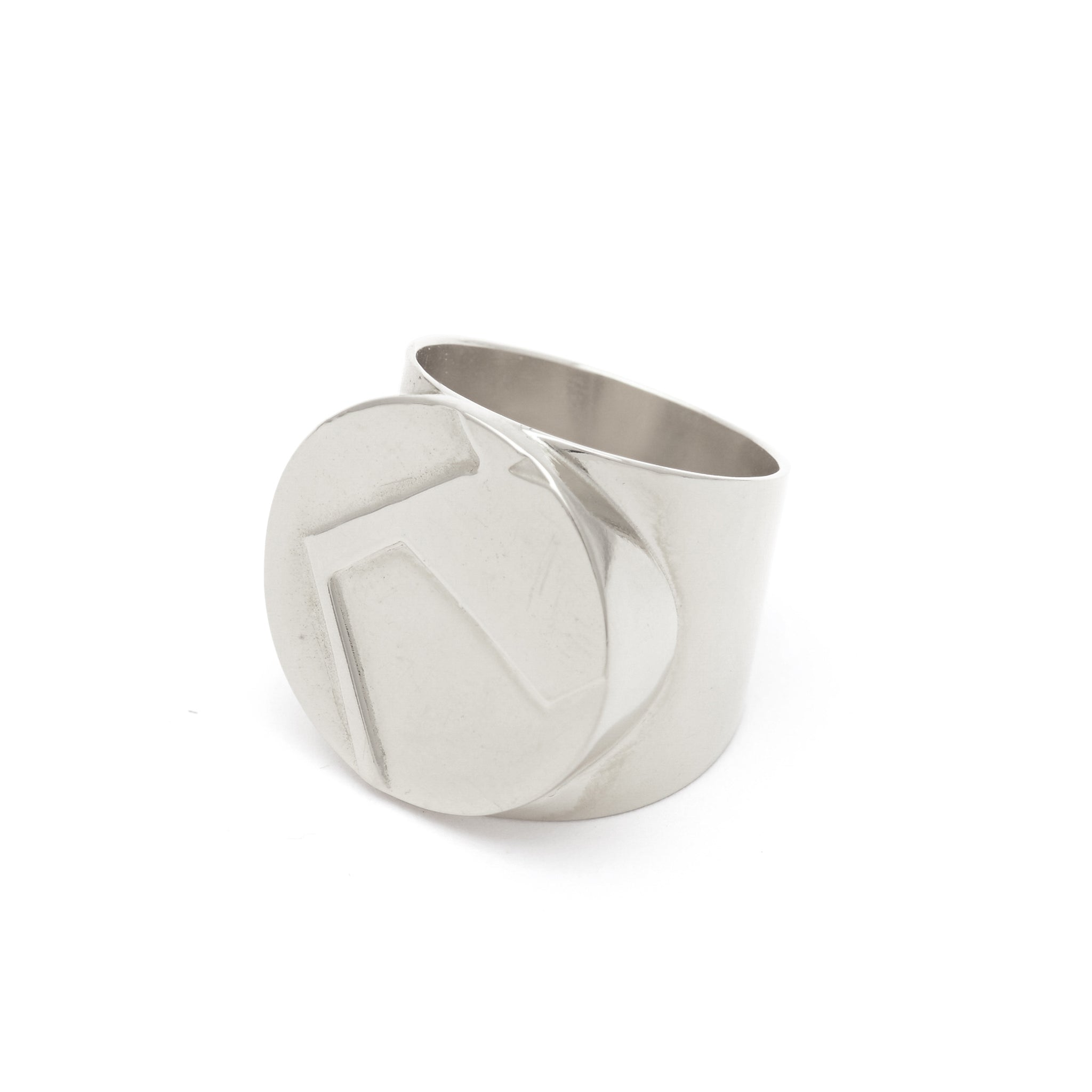 Etched Sterling silver Statement Signet Ring