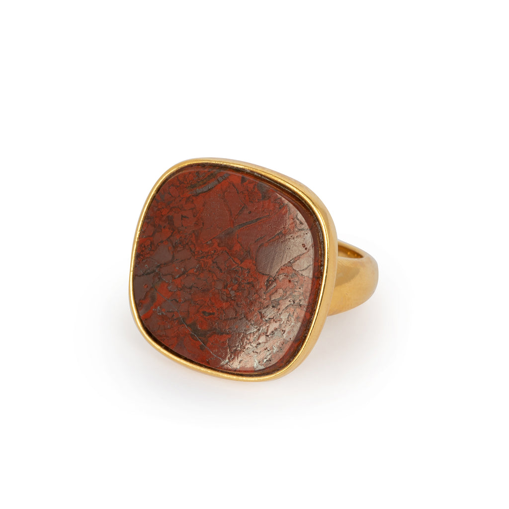 Statement Signet Ring with Red Moss Agate