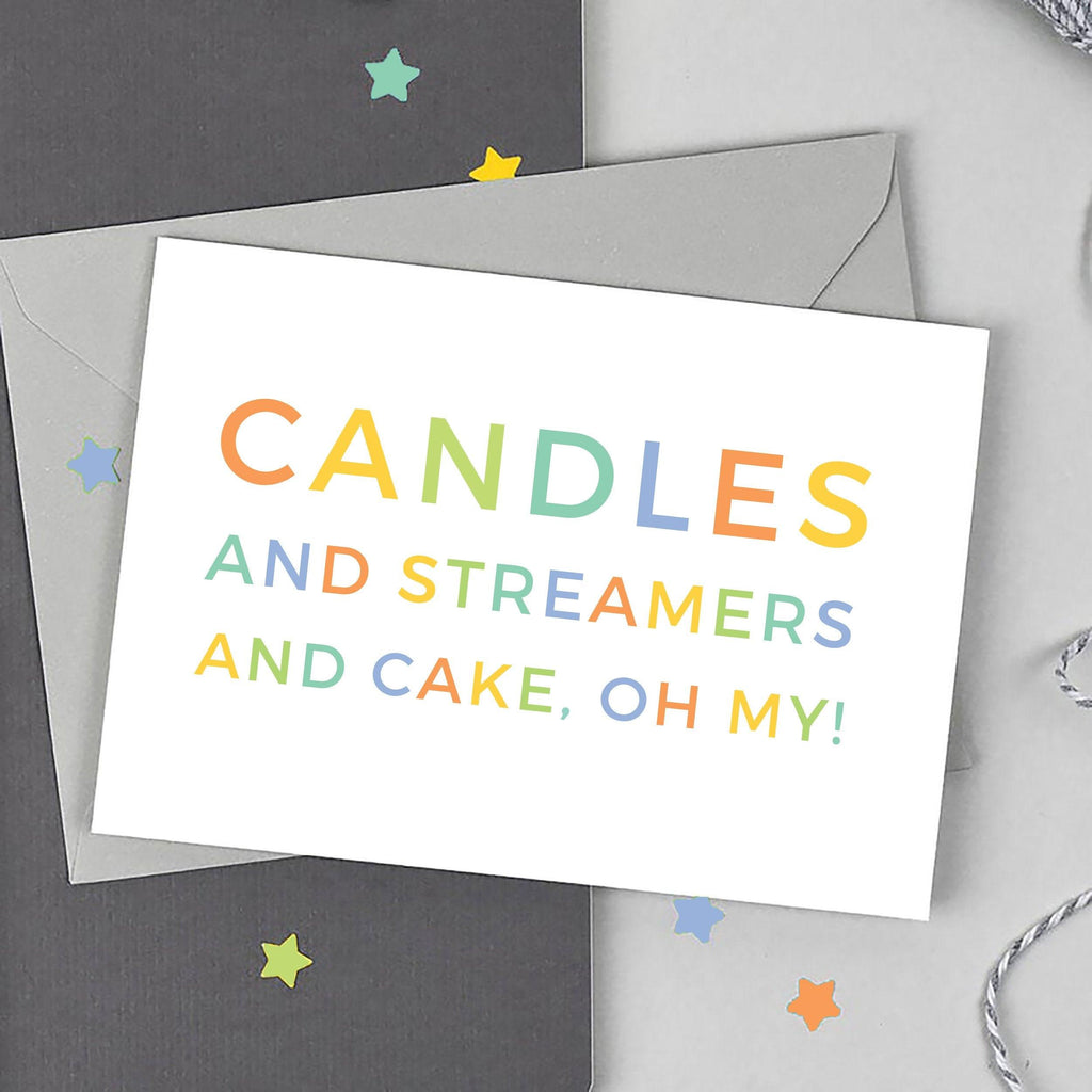 Candles and Streamers and Cake Birthday Card - Studio 9 Ltd