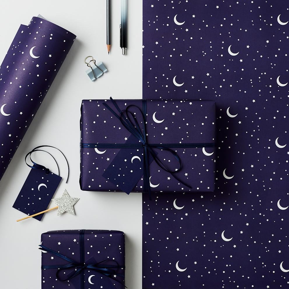 Stars and Moons Christmas Gift Wrap Set
