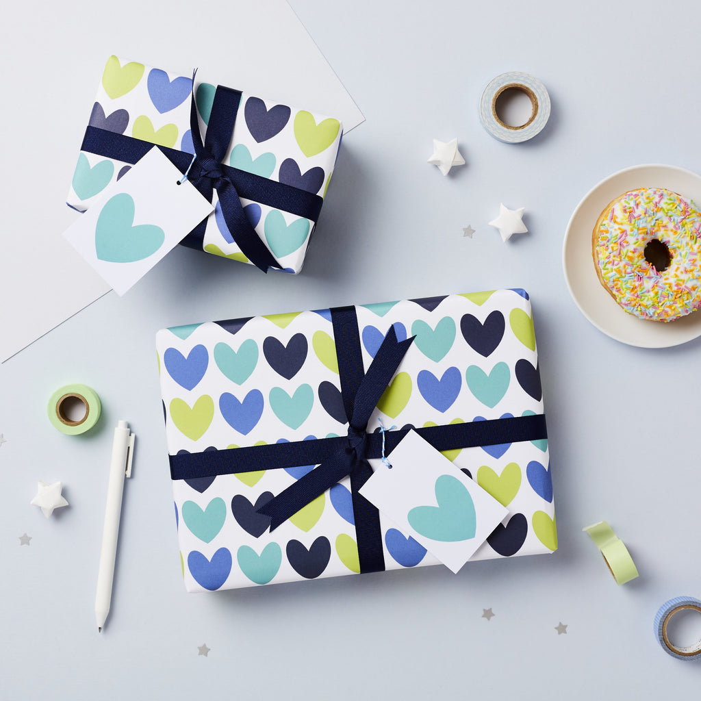 Blue Heart Wrapping Paper Set