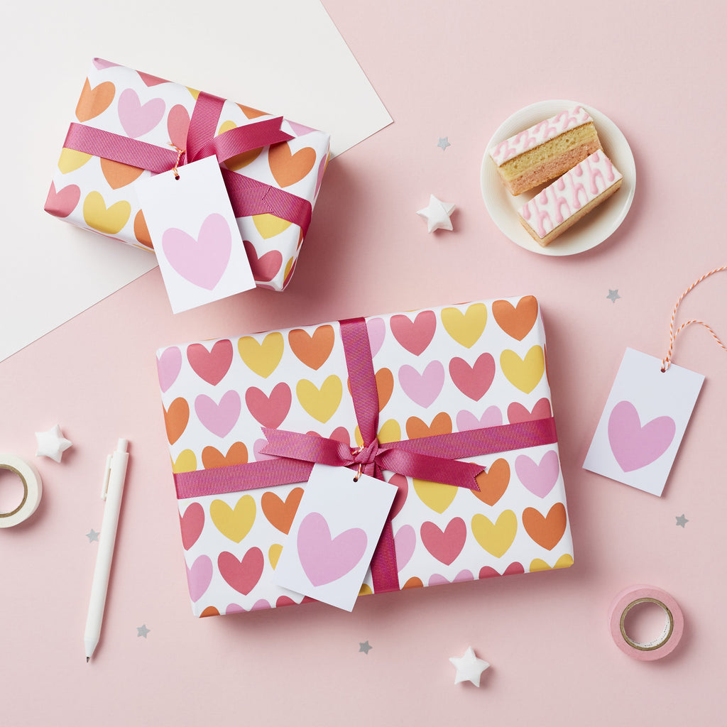 Pink Heart Wrapping Paper Set - Studio 9 Ltd