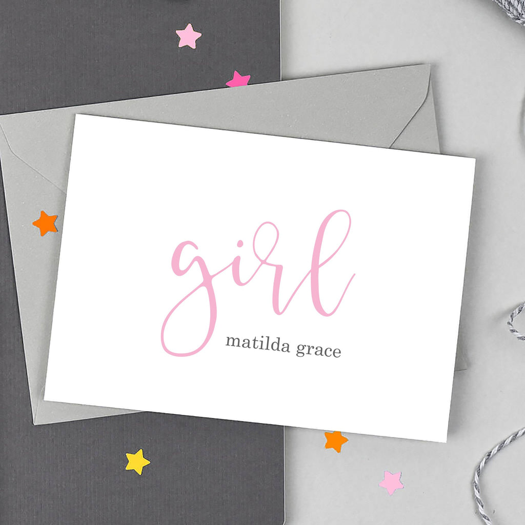 Personalised New Baby Girl Script Card