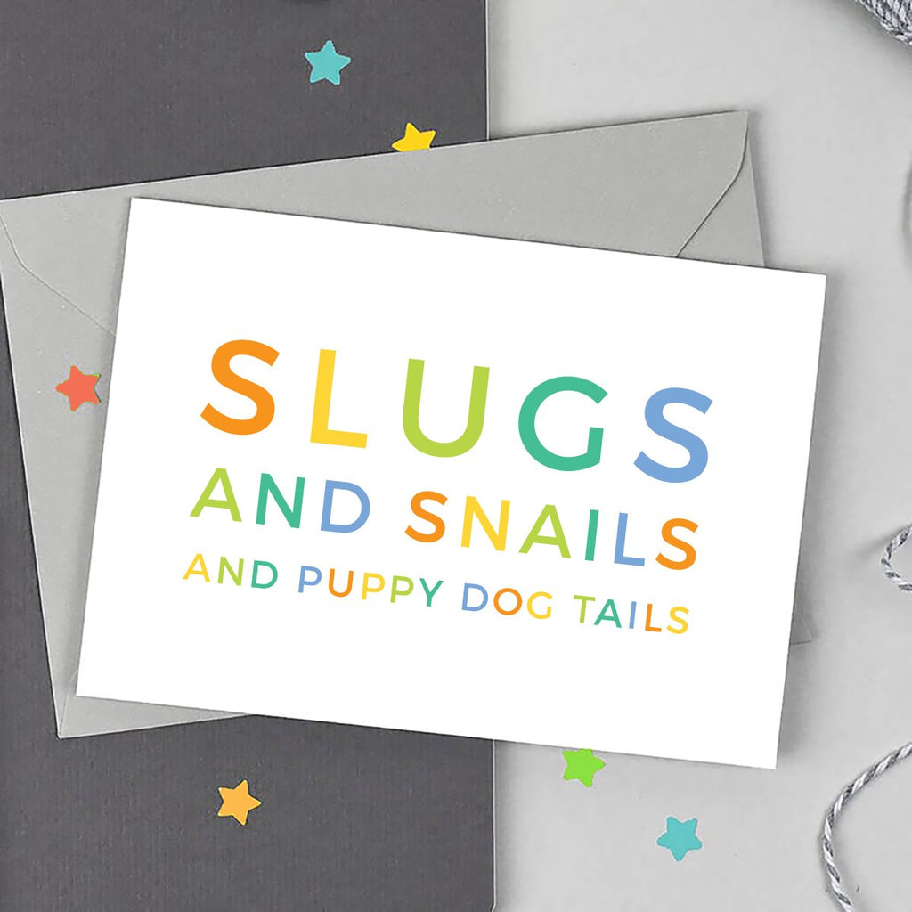 Slugs and Snails Baby Boy Card - Studio 9 Ltd