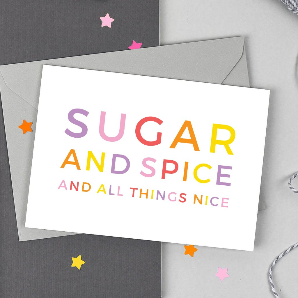 Sugar and Spice Baby Girl Card - Studio 9 Ltd