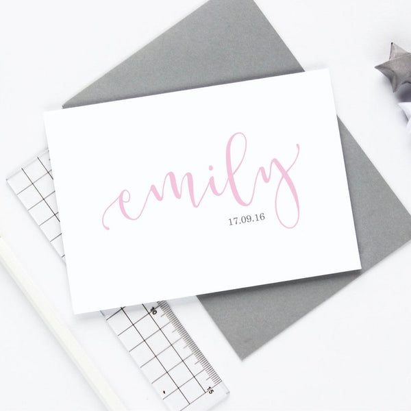 Baby Girl Name and Date Card
